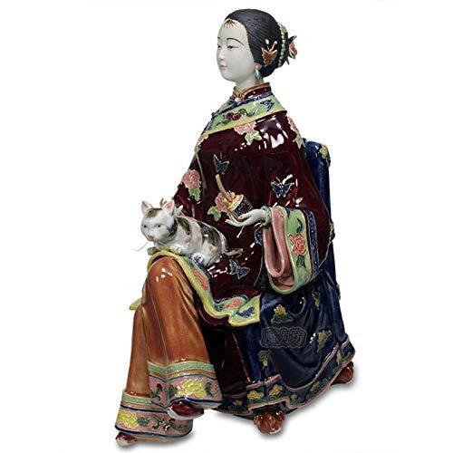 VBNHGF Estatuas Figuritas Decoración Escultura Figuritas Decorativas Estatuas Muñecas De Porcelana Coleccionables Escultura Femenina Estatuas Humanas Figurillas Pintadas Chinas Cerámica Antigua Lad
