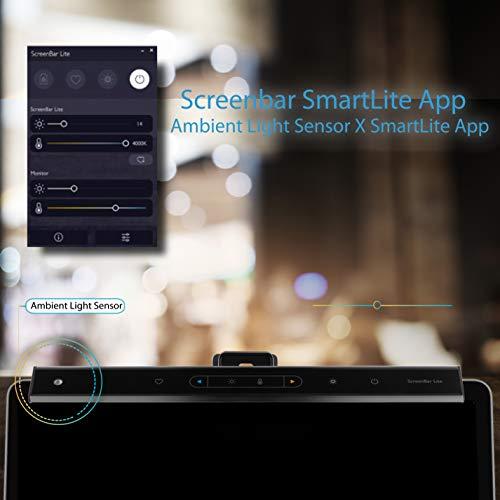 BenQ ScreenBar Lite e-Reading LED-Arbeitslampe mit automatischer Dimmfunktion und Farbtoneinstellung, platzsparender, Augenschutz, Blend- und Flackerschutz, USB-Stromversorgung