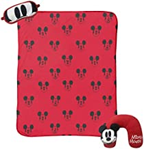 Jay Franco Disney Mickey Mouse 3 Piece Plush Kids Travel Set with Neck Pillow, Blanket & Eye Mask (Official Disney Product)