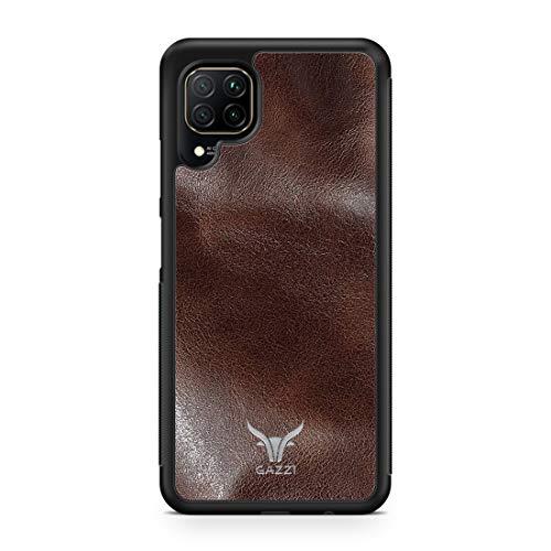 GAZZI Funda de piel para Huawei P40 Lite, carcasa trasera, funda de piel auténtica, protección completa, carcasa flexible (marrón y plateado)