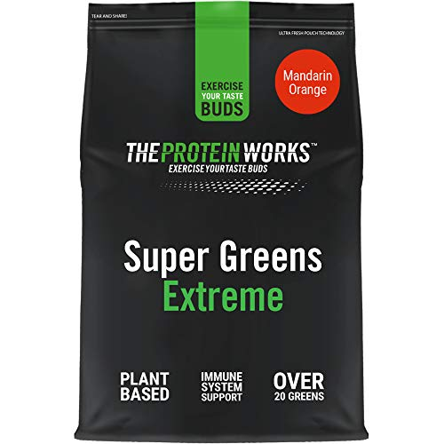 Super Greens Extreme Powder | 20 Different Greens | Helps Protect Your Immune System | Vegan, Low Sugar | THE PROTEIN WORKS | Mandarin Orange | 250 g