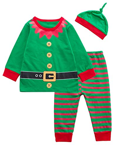 Baby Boys Girls Christmas Elf Costume Pajama Outfit Clothes Set (Green, 6-12 Months)