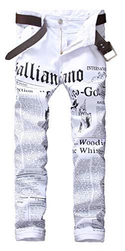 Calça jeans masculina Enrica casual com letras estampadas skinny branca, Branco, 30
