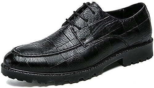 CHENDX Schuhe, Herren Fahion Oxfords Flache Ferse Freizeit Schnürschuhe (Farbe   Schwarz Größe   47 EU)