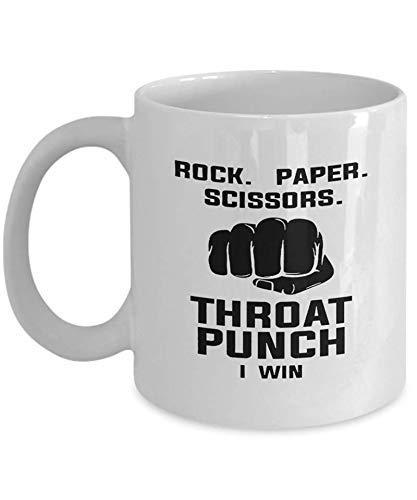 Taza de café Rock Paper Scissors Throat Punch I Win Coffee