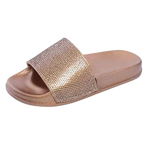 Dorical Hausschuhe Damen Glitzer Sandale Pantoletten Flandell Sandalen Outdoor Sommerschuhe Sandaletten Dusch Badeschuhe Flip Flops rutschfest Leicht Badesandalen Elegant Party Schuhe(Gold,36 EU)