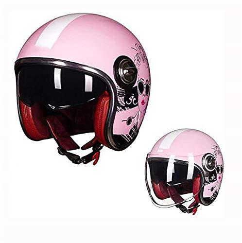 COPPER Casco Motocicleta Harley Retro Open Face 3/4 Diseño de Doble Lente...