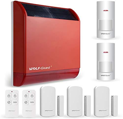 Allarme sirena solare wireless Wolf-Guard (110 dB), batteria integrata, allarme antimanomissione, allarme domestico wireless con 2 sensori di movimento, 3 sensori porta e 2 telecomandi