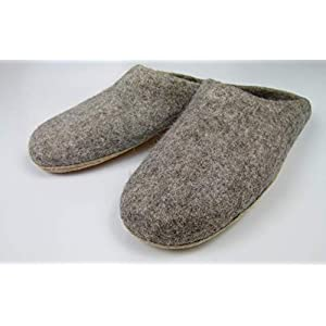 feelz – Warme Filzpantoffeln unisex für Damen und Herren, Hausschuhe aus Filz (Wolle) mit Ledersohle grau natur…