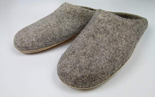 feelz - Warme Filzpantoffeln unisex für Damen und Herren, Hausschuhe aus Filz (Wolle) mit Ledersohle grau natur - Handarbeit Fairtrade