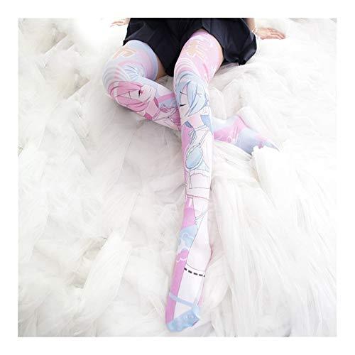 YUNGYE Frauen-Mädchen-Strumpf-Schenkel-hohe Socken-Tanz Cosplay Japanische Anime Über Knie-Socken Plus Size (Color : Rem Ram, Size : One Size)