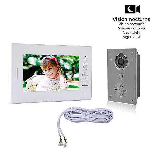 Nudito Kit Videoportero universal para vivienda, Interfono Intercomunicador (1 Monitor TFT LCD a color de 7', 1 Cámara infrarroja exterior de Aleación de aluminio e impermeable con Visión Nocturna)