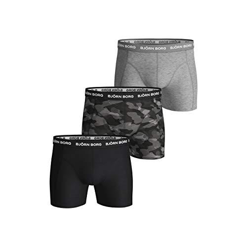 Björn Borg Herren Shorts Sammy BB SHADELINE Boxershorts, Black Beauty, L (3er Pack)