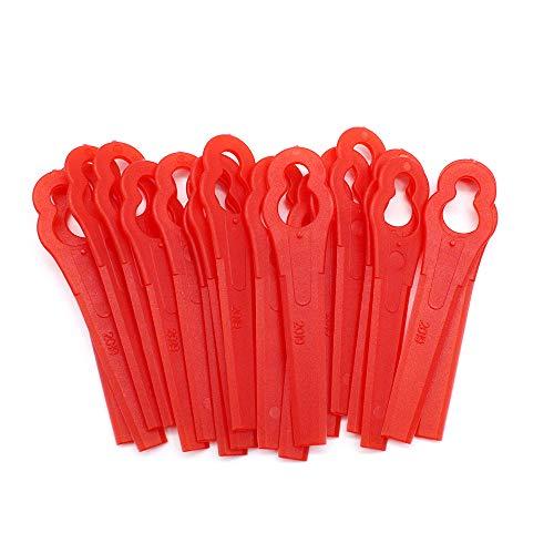 JUN-H 100 Stück Rasenmäherklinge Kunststoff Original Ersatzmesser-Set Ersatzmesser für Rasentrimmer Rasentrimmer-Zubehör für Akku-Rasentrimmer Rot