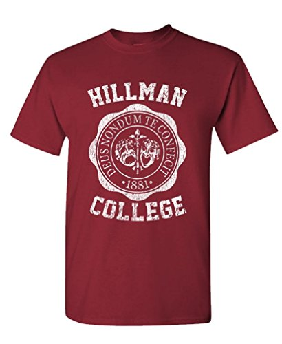 Hillman College - Retro 80s Sitcom tv - Mens Cotton T-Shirt, S, Maroon