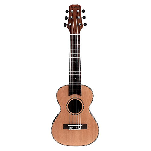 "Andoer 28 ""Guitalele Guitarlele Guilele viaje guitarra de cedro plateado o pino maciza, tecla de palisandro cubierta de instrumento de cuerda con Built in EQ-3 bandas Gig Box-Cable de Audio Strap"