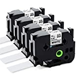 Labelife Compatible 1 Inch Label Tape Replacement for Brother TZe-251 Ptouch Label Tape 24mm 0.94 Laminated White TZe251 TZe TZ Tape for Brother P-Touch PTD600 PT-P710BT PTP750W Label Maker, 4-Pack