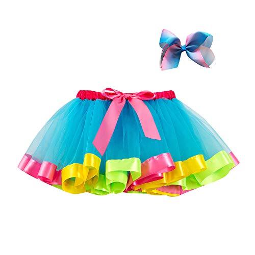 Xmiral Tutu Vestito Costume da Ballo per Ragazza 2 Pezzi Costume da Ballo Arcobaleno Vestito Carnevale Strati Gonna + Set di Accessori per Capelli Altezzat:100-120CM Blu