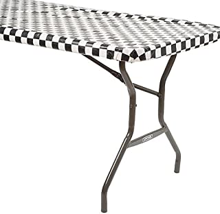 Creative Converting Black Check Stay Put Table Cover