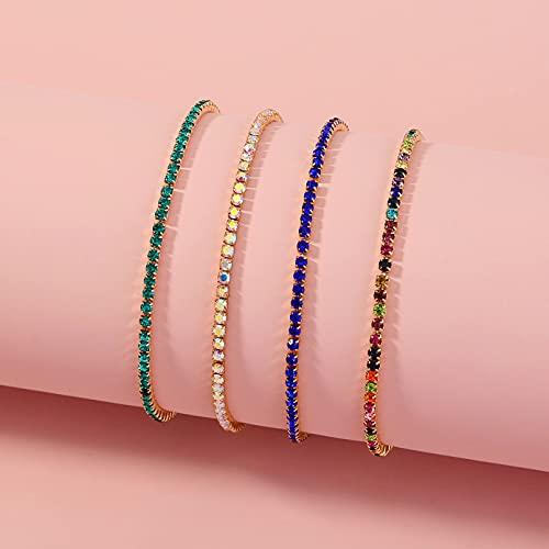 Accesorios Creativo, versátil, multicapa, multicolor, con diamantes de imitación, conjunto de pulsera elástica, pulsera, pulsera Aniversario de bodas día de la madre regalo de cumpleaños de navidad