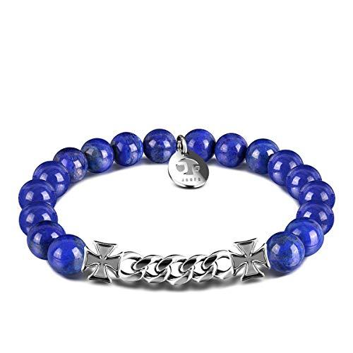 JOXFA Beaded Cross Bracelet for Mens Women, 8MM Natural Stone Agate Beads with Stainless Steel Serenity Prayer Chain Bracelets Charm Healing Friendship Anxiety Aromatherapy Bracelet (Lapis Lazuli)
