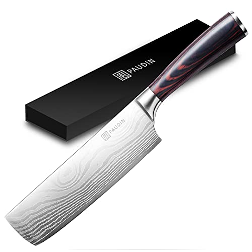 PAUDIN Japanisches Messer, Klingenlänge 17cm nariki Messer Hackmesser Kochmesser aus hochwertigem Edelstahl, asiatisches Mehrzweck Küchenmesser für Haus und Küche mit ergonomischem Griff
