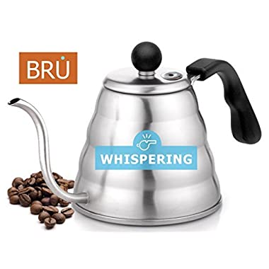 SALE! Pour Over HISSING Coffee Kettle - Premium Quality Gooseneck Stainless Steel Drip Pot for Coffee & Tea, 1.2L