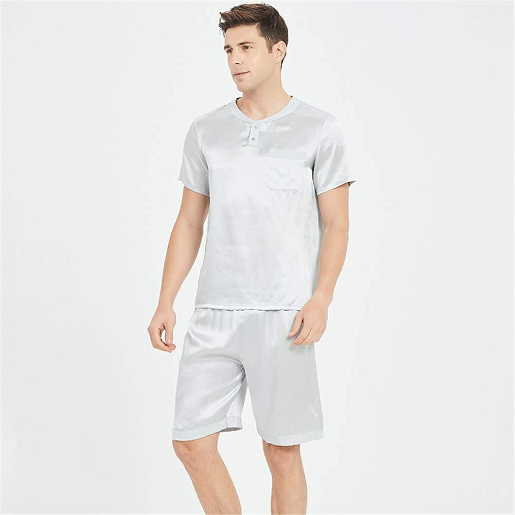 FMOGG Men's Silk Pyjamas Shorts Set 19 Momme Pure Silk Mens Pyjama Set 2 Pcs Luxury Gift Men's Short Pajamas Set, 100 Pure Silk Pyjamas Short-Sleeved Pj Set Nightwear Sleepwear