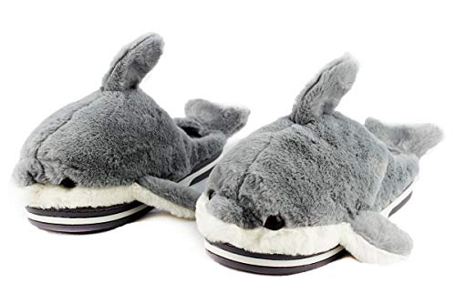 Hausschuhe aus Plüsch, 3D-Delfin-Form, rutschfeste Gummisohle, warm und super weich, Grau - grau - Größe: 36 EU