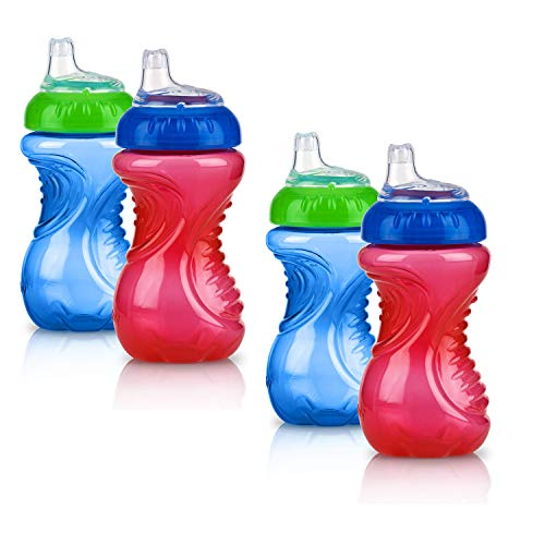 4 Piece No Spill Easy Grip Trainer Cup 10 oz, Blue/Red