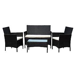 EBS Salon de jardin ensemble 4 pièces en résine tressée/ rotin tressé 1 canapé & 2 Chaises & 1 Table