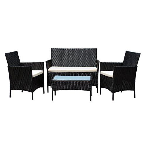 Conjunto de Muebles Ratán de Jardin o Terraza 4 Piezas con Cojines Blancos - 1 Mesa de Café 1 Sofá Biplaza y 2 Sillas / Color Negro