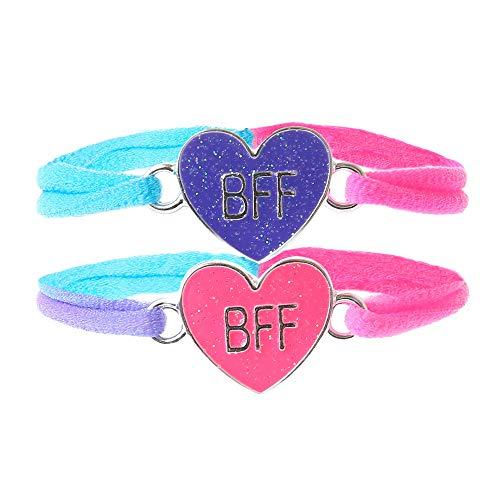 Claire's Matching Neon Glitter Heart Stretch Best Friends Friendship Bracelets, Pink/Purple with Aqua/Pink/Purple Cord, Set of 2