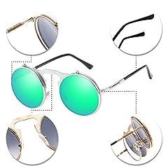 BOZEVON Flip up Round Sunglasses - Metal Steampunk Retro Circle Eyewear for Men & Women Silver Green #3