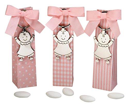 Mopec sleutelhanger van metaal Baby Pita in bedrukte doosjes met 5 snoepjes, 3 stuks, zilver, 3,50 x 3,50 x 14,00 cm