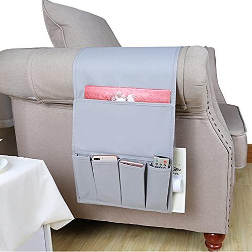 Organizador para sofá con reposabrazos, revistas, mando a distancia, impermeable, para iPad, teléfono móvil, libros, pañuelos, aperitivos, mejora el grosor (gris)