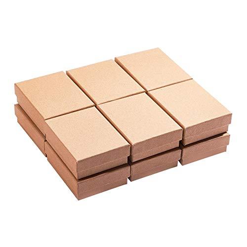 Non-brand 12-Paquete de cartón Relleno de algodón Caja de joyería de Papel Caja de Regalo-Embalaje de la joyería y Caja de envío