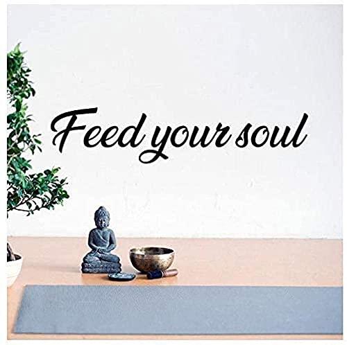 Pegatinas de arte de pared calcomanías de vinilo para pared proporcionan buscando su alma papel tapiz para sala de yoga en casa 59x13 cm