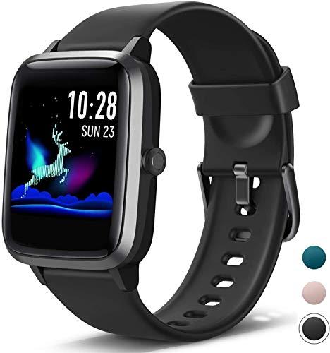Fitpolo Gesundheit Fitness Uhr, Aktivitätstracker mit 1,3 '' Farbbildschirm, Pulsuhr, Schlafmonitor, Kalorienzähler,Schrittzähler Uhr, Wasserdicht Smart Watch für Damen Herren Kinder (schwarz)
