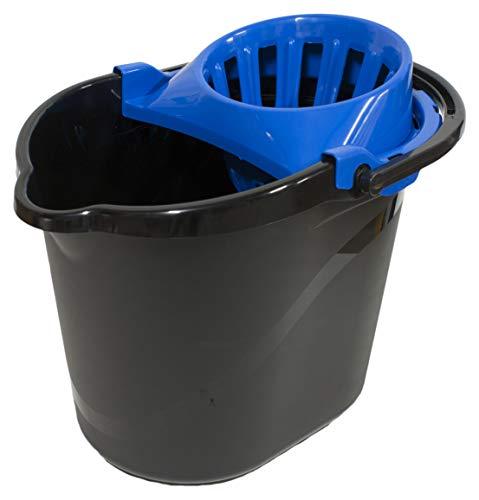 PAMEX- Cubo 15L One Negro con Escurridor (Azul)
