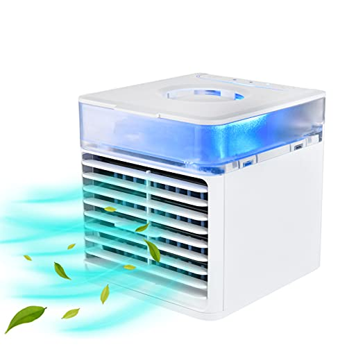 HALIGHT Portable Air Conditioner, Evaporative Air Conditioner Fan, Personal Space Air Conditioner Cooler, Desktop Air Conditioner, with 3 Speeds and 7 Colors Night Light