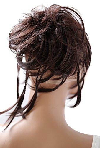 PRETTYSHOP XXL parrucchino Voluminoso Pezzo capelli capelli di gomma scrunchie ricci Updo Bun cioccolato marrone # 4 G2D
