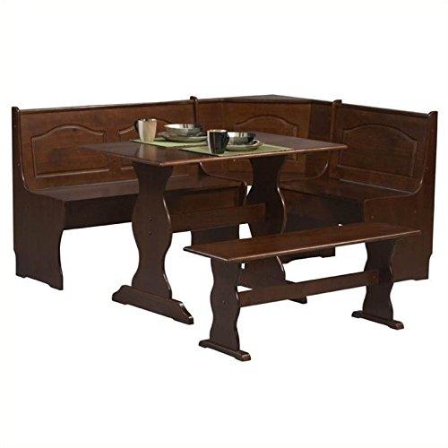 Riverbay Furniture 3 Piece Patio Conversation Kitchen Breakfast Corner Nook Table Booth Bench Dining Set in Walnut