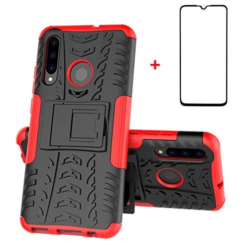 XINYUNEW Funda Huawei P Smart Z, 360 Grados Protective+Pantalla de Vidrio Templado Caso Carcasa Case Cover Skin móviles telefonía Carcasas Fundas para Huawei P Smart Z-Rojo