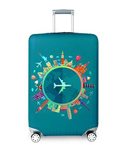 SMILE スーツケースカバー キャリーバッグ保護 防塵カバー 伸縮素材 厚め 欧米風 洗える (L, Go Travel)