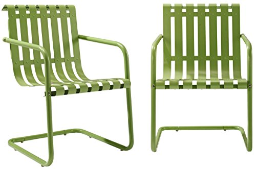 Crosley Furniture Gracie Retro Metal Outdoor Spring Chair  Oasis Green Set of 2