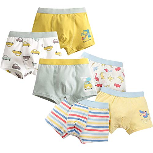 YoungSoul 6er Pack Jungen Boxershorts Dinosaurier Camouflage Autos Kinder Unterhose Baumwolle Unterwäsche Modell 1/4-5 Jahre