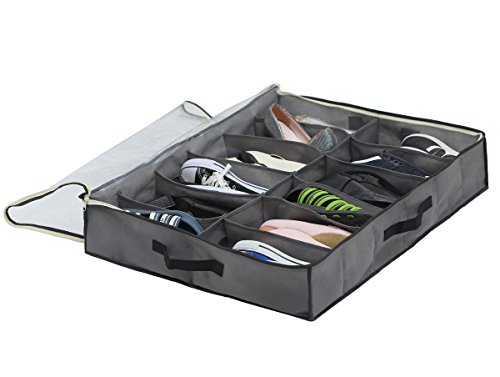 Sami Time 12 Pairs Under Bed Shoe Organizer Closet Storage Solution Organizer Box with Front Zippered Closure
