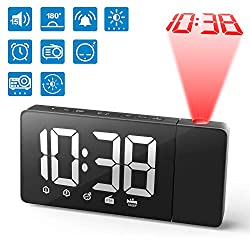 Wikomo Projection Alarm Clock, 15 FM Radio Alarm Clock, 5'' Large Curved LED Display, 6 Dimmer, Dual Alarm with 2 Alarm Sounds, Digital Clock for Bedrooms Ceiling, Snooze (White)…