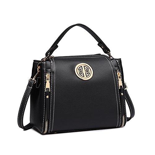 Miss Lulu Marca Mujeres Top Mango Bolsa Pu cuero cruzada bolso elegante bolso bolso pequeño clásico para mujer bolso de hombro (Negro)